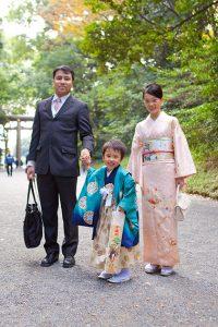 七五三記念日の家族