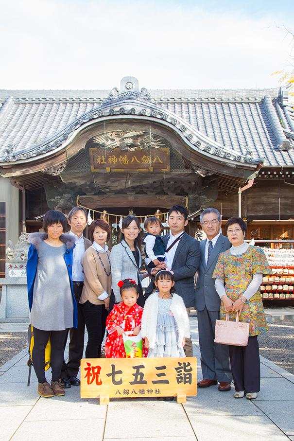 千葉県の神社に出張撮影した七五三記念日の家族集合写真