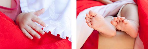 お宮参り記念日の赤ちゃんの手と足